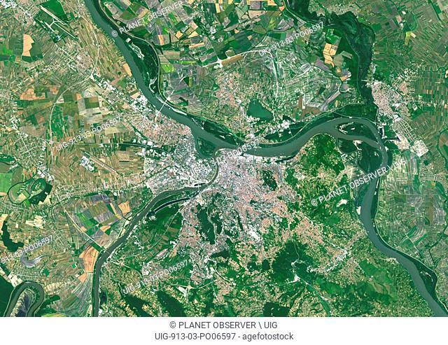 Colour satellite image of Belgrade, Serbia. Image taken on June 9, 2014 with Landsat 8 data