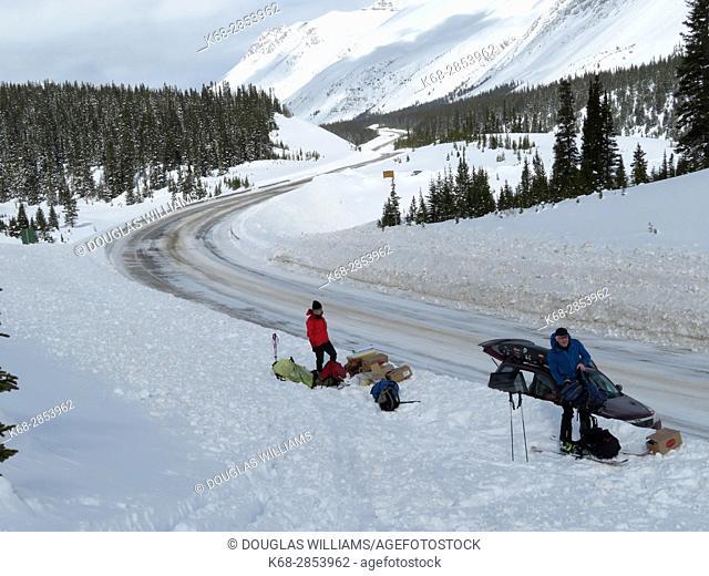 Winter in Jasper National Park, Alberta, Canada, near Parker Ridge on the Banff-Jasper highway