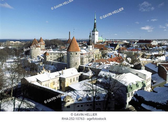 Elevated winter view from Toompea in the Old Town, Tallinn, UNESCO World Heritage Site, Estonia, Baltic States, Europe