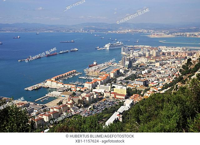 view from the Rock of Gibraltar onto town, behind the Spanish coast, Gibraltar, Iberian Peninsula, Europe, Spain