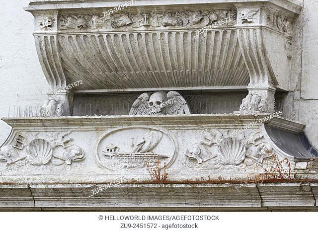Carvings on the exterior of Church of Santa Maria Formosa, Castello, Venice, Veneto, Italy, Europe