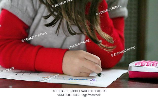 closeup of a girl drawing