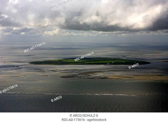 Hallig Neuwerk at low tide, national park Wadden Sea, Schleswig-Holstein, Germany