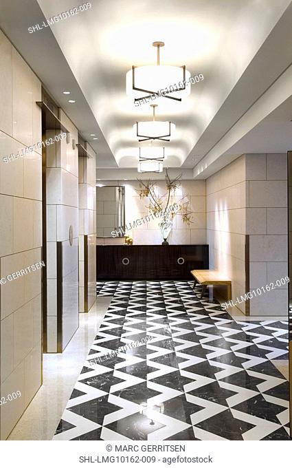 Black and white tile in hallway