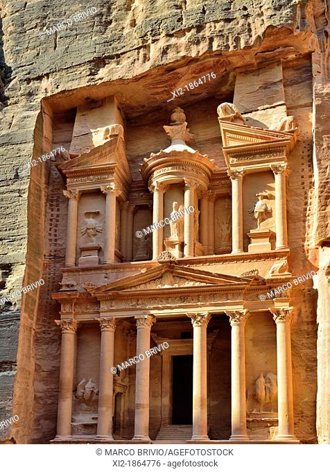 Al Khazneh The Treasury, Petra, Jordan  It is one of the most elaborate temples in the ancient Jordanian city of Petra  As with most of the other buildings in...