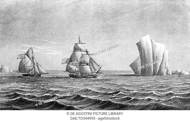 The brig Jane and the cutter Beaufoy near an iceberg, Antarctica, illustration from A Voyage towards the South Pole in the years 1822-24