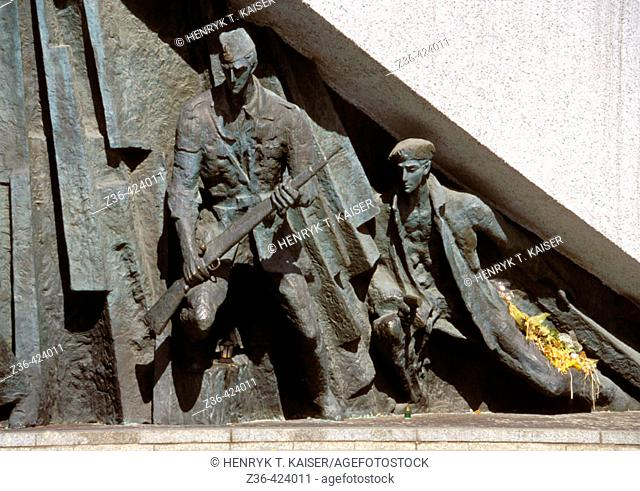 Poland Warsaw,  Monument to the 1944 Warsaw Uprising ( Pomnik Powstania Warszawskiego w 1944 ) Monument unveiled in 1989 commemorates the heroes of the historic...