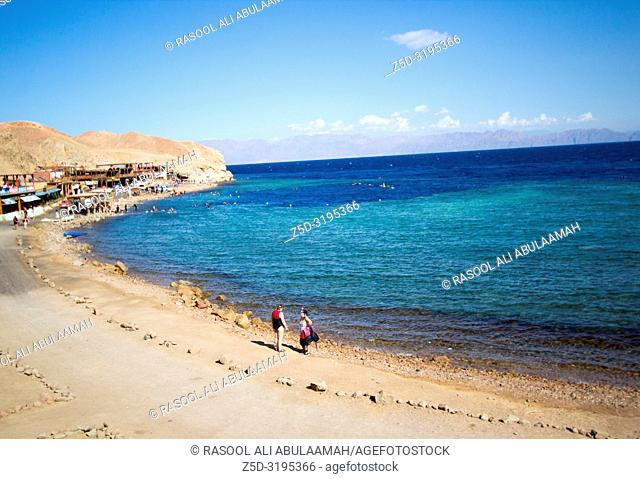 Sinaa, Egypt - November 4, 2018:- photo for Red Sea coast In the Egyptian city of Sinaa, which showing water and some rocks