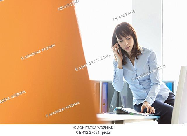 Brunette businesswoman talking on cell phone reviewing report in office
