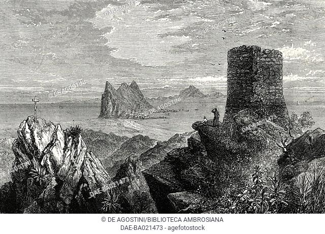 The rock of Gibraltar from the Queen of Spain's Chair, illustration from the magazine The Graphic, volume XVI, no 397, July 7, 1877