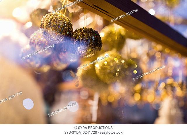 close up of christmas decorations at shop window