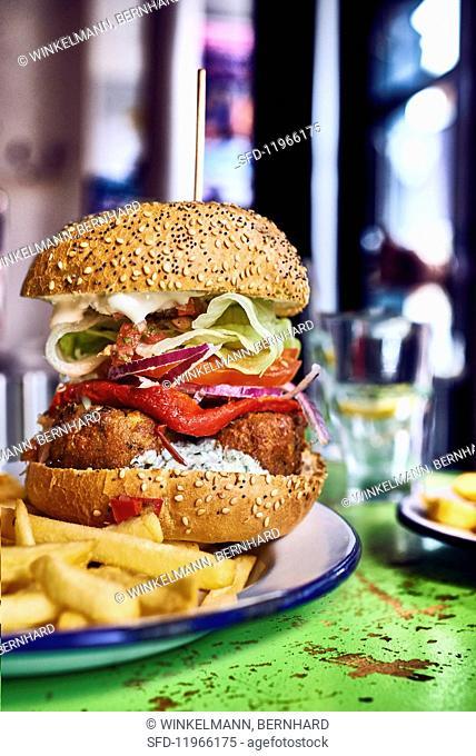 Falafel burger with chips