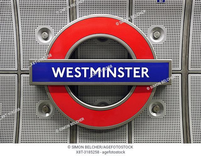 Westminster Underground Station Sign. London, UK