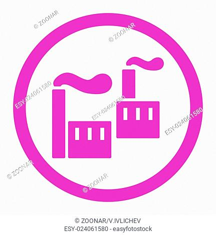 Industry flat violet color rounded vector icon