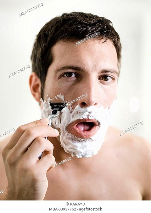 Man, attractively, smiling, face, shaving cream, portrait, shaves