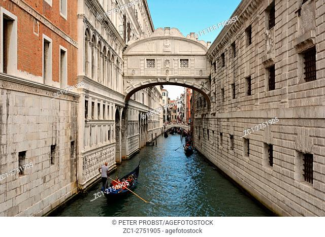 Bridge of Sighs between the Doge's Palace and the prison Prigioni Nuove of Venice in Italy - Ponte dei Sospiri. Caution: For the editorial use only
