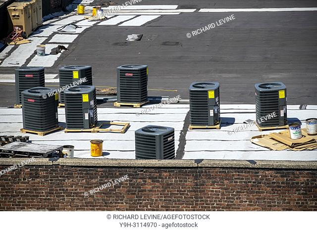 HVAC equipment waiting to be installed during a building renovation in Williamsburg, Brooklyn in New York on Sunday, April 22, 2018. (© Richard b