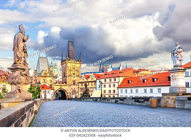 Charles Bridge with Statues of Saint Augustine of Hippo and St Philip Benitius, Lesser Town of Prague