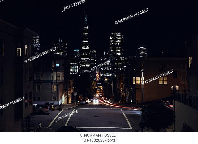 Illuminated buildings in San Francisco at night, San Francisco, California
