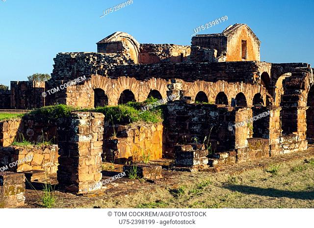 View of cloister archways and cathedral from the secondary church, Jesuit Mission of La Santísima Trinidad de Paraná ruins, Encarnacion, Paraguay