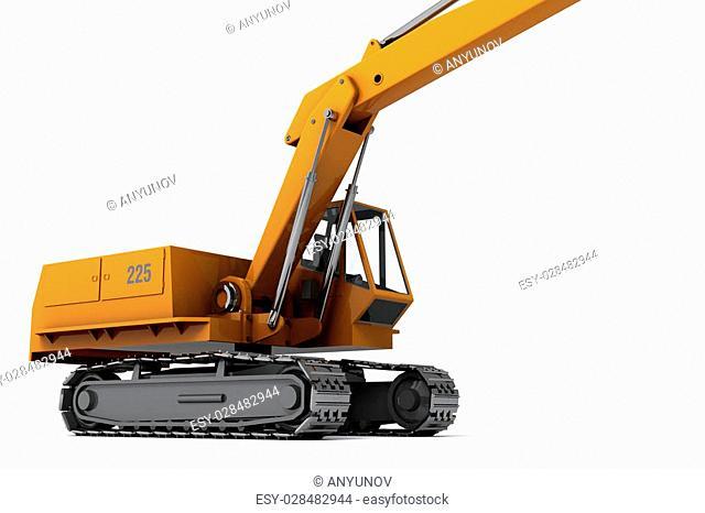 Orange dirty digger isolated on white background