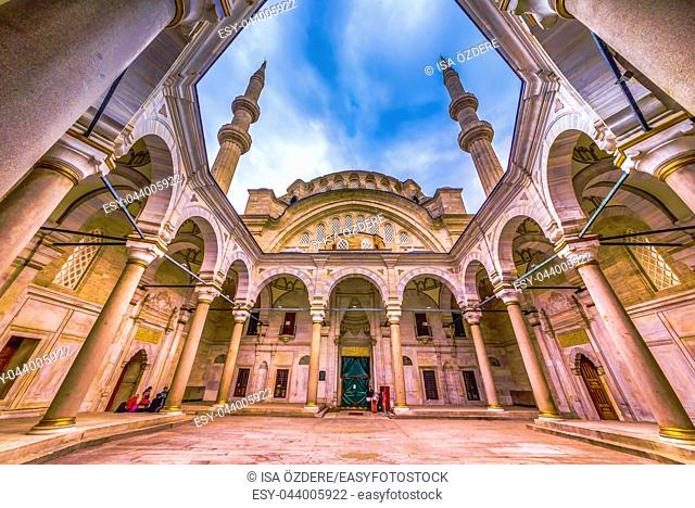 Exterior view of Nuru osmaniye Mosque that was commissioned from order of Sultan Mahmut I and completed by Sultan Osman III in 1755