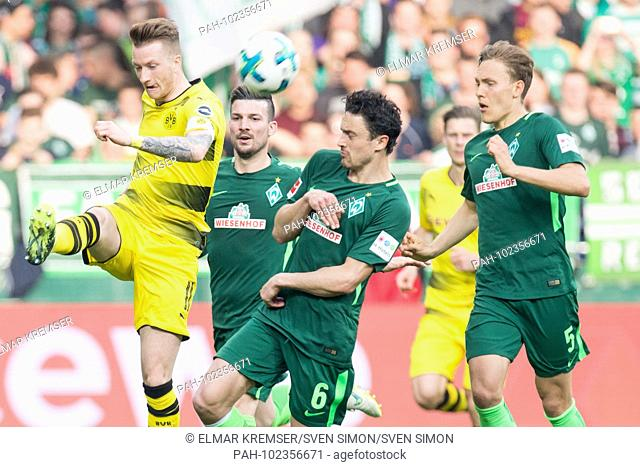 Marco REUS (left, DO) versus left to rightn.r. Jerome GONDORF (HB), Thomas DELANEY (HB), Thomas DELANEY (HB), action, fight for the ball, football 1