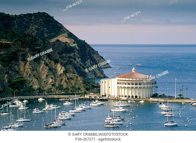 Boats at anchor and Casino Building. Avalon Harbor. Catalina Island. California. USA