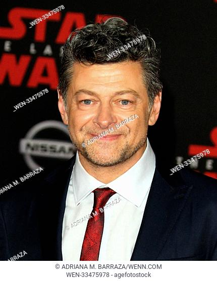 """Star Wars: The Last Jedi"" Premiere held at the Shrine Auditorium in Los Angeles, California. Featuring: Andy Serkis Where: Los Angeles, California"