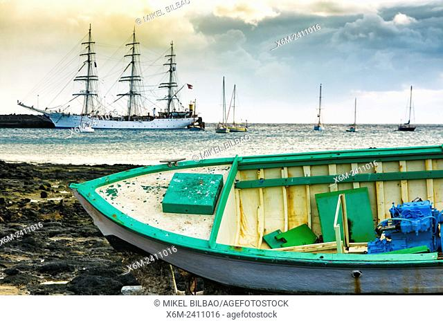 Sailing ship and pier. Arrecife. Lanzarote, Canary Islands, Spain, Europe