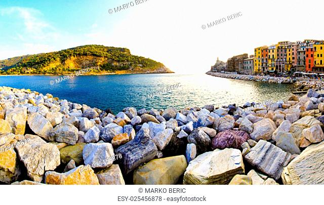 Big pile of stones at Portovenere coast