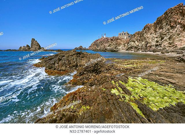 Cabo de Gata, Lighthouse, Cabo de Gata-Nijar Natural Park, Biosphere Reserve, Almeria, Spain, Europe