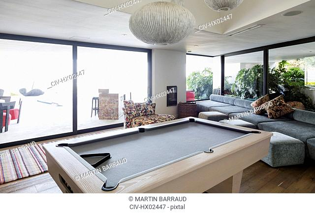 Pool table in luxury home showcase interior