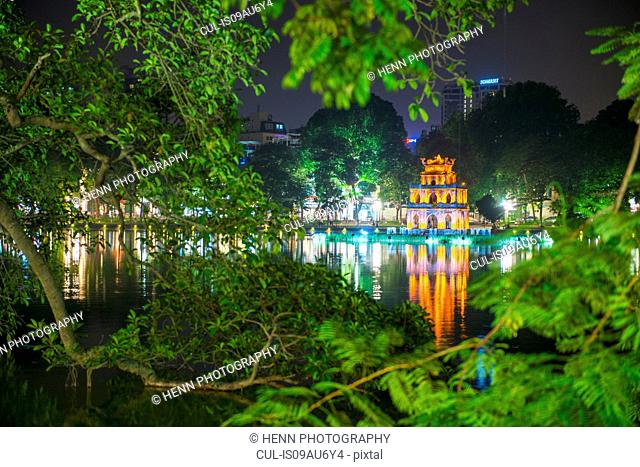 The Turtle Tower (Thap Rua) on Hoan Kiem Lake, Hanoi, Vietnam