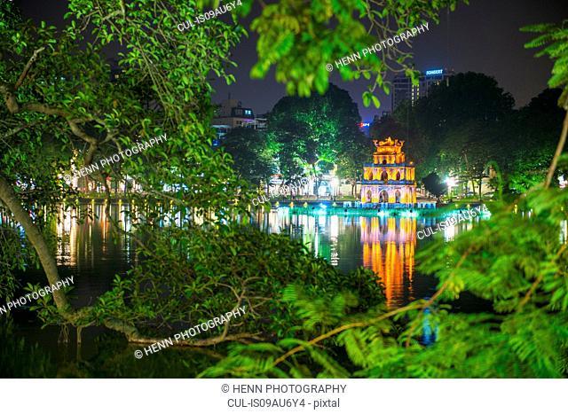 The Turtle Tower (Thap Rua) on Hoan Kiem Lake, Hanoi, Vietnam