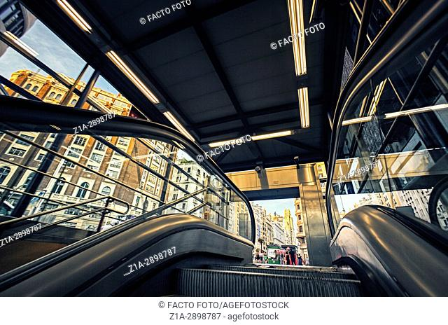 Low angle view of the underground entrance at Callao square. Madrid. Spain