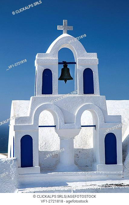 Details of a church in the town of Oia, Santorini, Greece, Europe