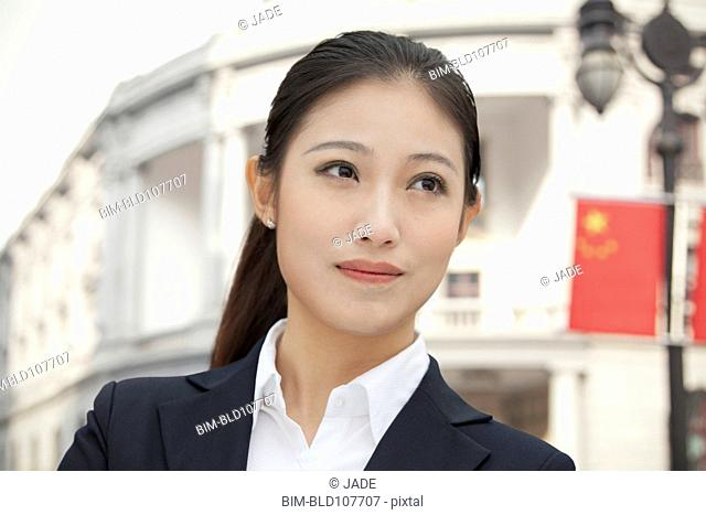 Serious Chinese businesswoman