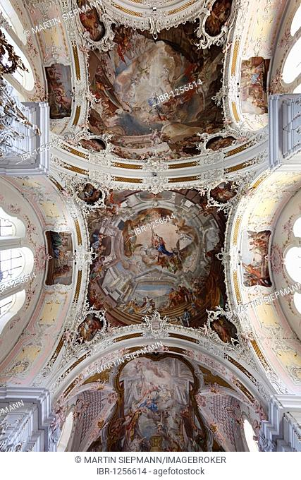 Ceiling frescoes, Wiltener Pfarrkirche parish church, Innsbruck-Wilten, Tyrol, Austria, Europe