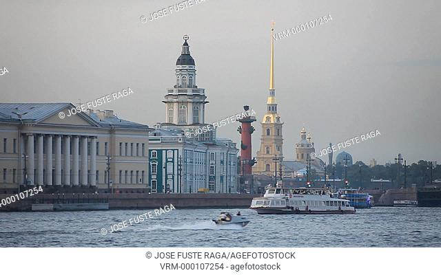Rusia , San Petersburg City, Kunstkamera Bldg. , Rostral Column and Peter and Paul Cathedral