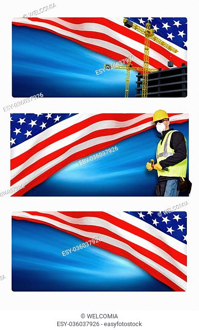 American Labor Day Banners Isolated on White Background. Three Labor Day High Resolution Banners to Choose From. Empty Banner