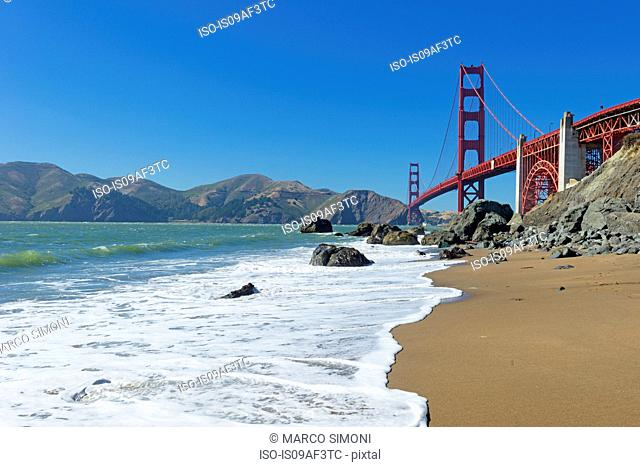 Beach and Golden Gate Bridge, San Francisco, California, USA