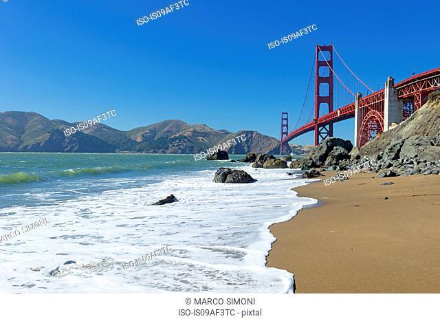 Beach and Golden Gate Bridge, San Francisco, California, USA