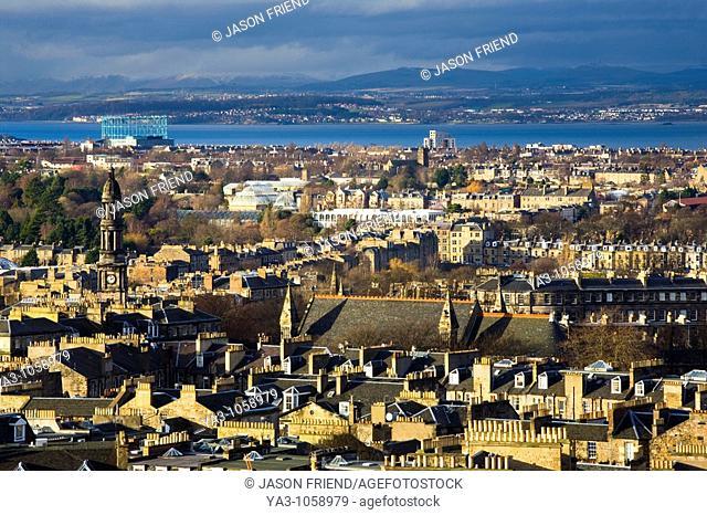Scotland, Edinburgh, Calton Hill  Looking across Edinburgh City New Town to The Firth of Forth