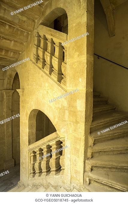 Stairs of the Hotel Marquis de la Beaume. The building is dated 17th century. The house is now a luxury hotel in the center of the city
