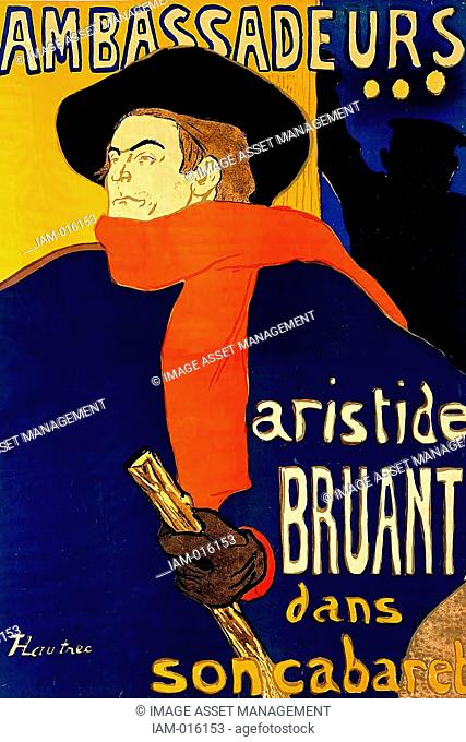 Aristide Bruant 1851-1925 French cabaret singer and nightclub owner, 1892. Poster by Henri Toulouse-Lautrec 1864-1901 French painter and printmaker showing...