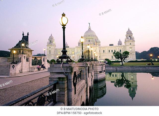 Victoria Memorial and compound at evening ; Kolkata ; West Bengal ; India