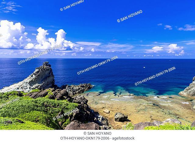 The coral sea of Uganzaki Cape in Ishigaki island, the second largest island of the Yaeyama Island group, Okinawa prefecture, Japan