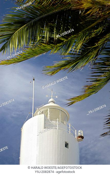 Brazil. Bahia, Praia do Forte. Lighthouse at the Projeto Tamar. The Projeto TAMAR is a Brazilian non-profit organization with the main aim to protect sea...