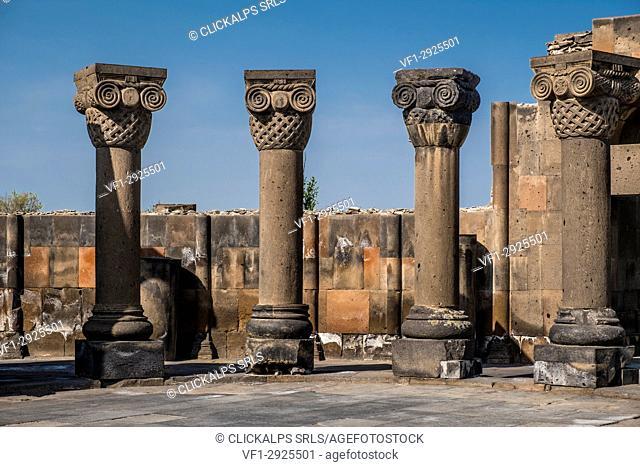 The ruins of the ancient temple of Zvartnots, Armenia, Caucaus, Eurasia